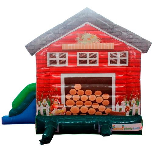 Acquista il gonfiabile con scivolo Casetta di legno